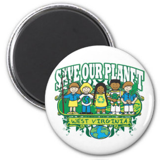 Earth Kids West Virginia 2 Inch Round Magnet