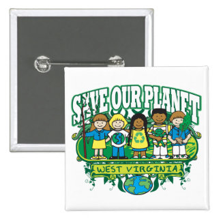 Earth Kids West Virginia 2 Inch Square Button
