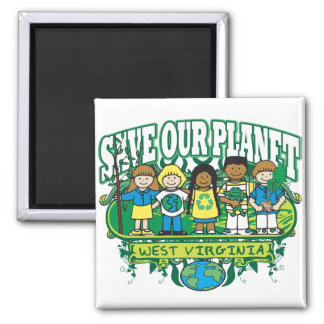 Earth Kids West Virginia 2 Inch Square Magnet