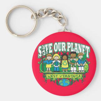 Earth Kids West Virginia Basic Round Button Keychain