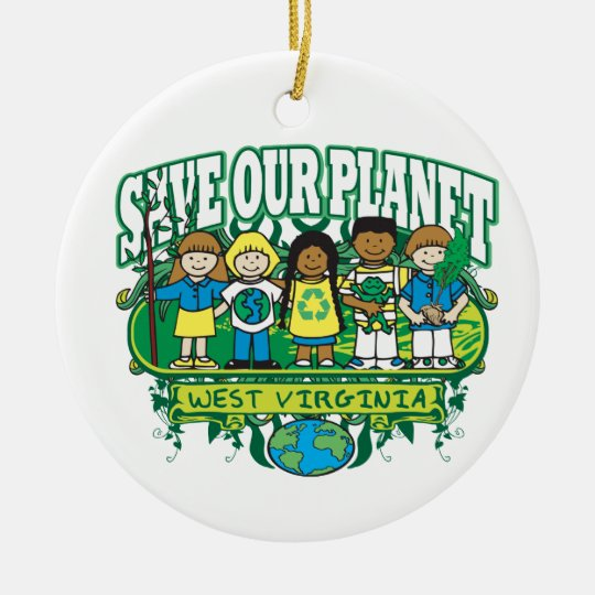 Earth Kids West Virginia Ceramic Ornament