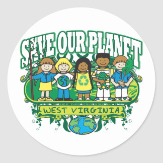 Earth Kids West Virginia Classic Round Sticker
