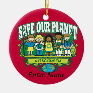Earth Kids Wisconsin Ceramic Ornament