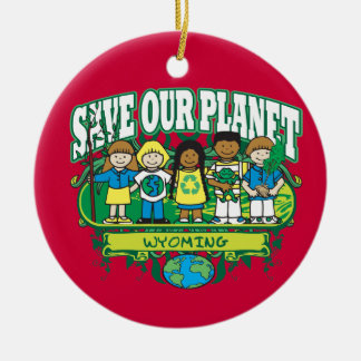 Earth Kids Wyoming Double-Sided Ceramic Round Christmas Ornament