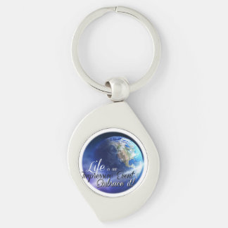 Earth - Liffe is an Impressive  Event Silver-Colored Swirl Metal Keychain