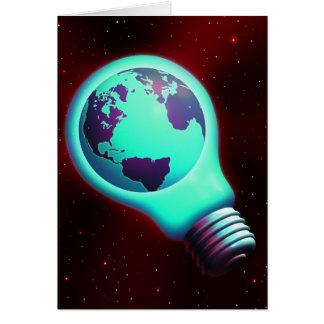 earth light bulb card