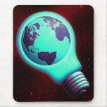 earth light bulb mouse pad