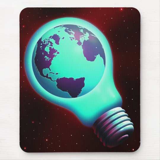 earth light bulb mouse pad