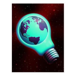 earth light bulb postcards