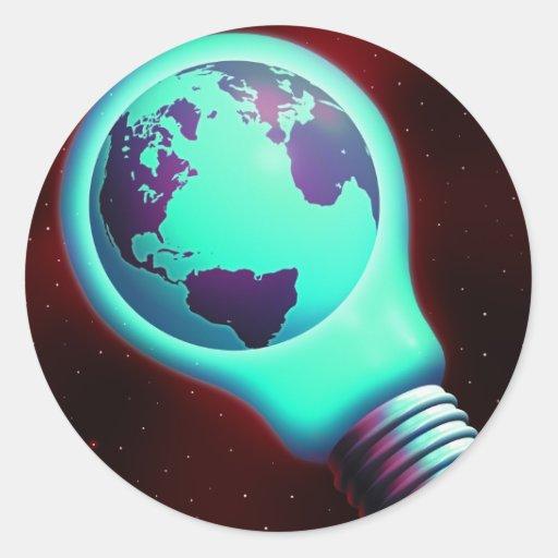 earth light bulb round sticker