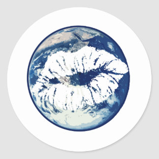 Earth Lips Kiss the Earth Round Sticker