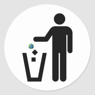 Earth Litter Disposal Classic Round Sticker