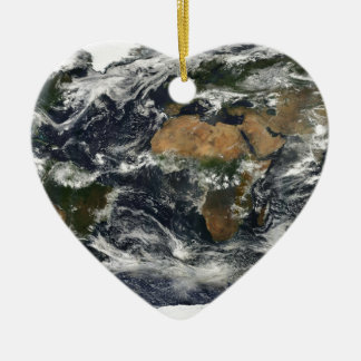Earth map ceramic ornament