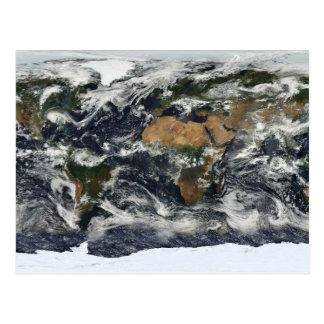 Earth map postcard