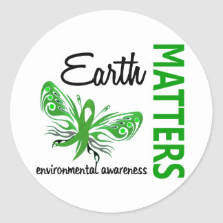 Earth Matters Butterfly Environmental Awareness Classic Round Sticker
