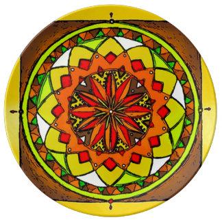 Earth Medicine Wheel Mandala Porcelain Plates