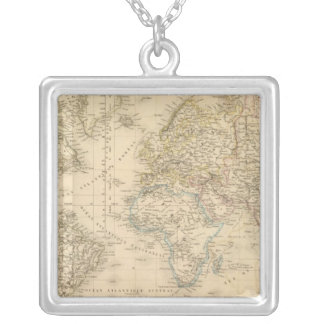Earth Mercator proj Silver Plated Necklace