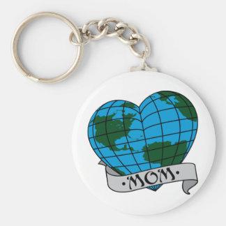 Earth Mom Basic Round Button Keychain