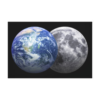 Earth & Moon - 3D Effect Canvas Print