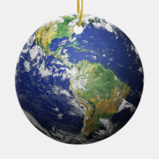 Earth Moon - 3D Effect - See Both Sides Christmas Ornament