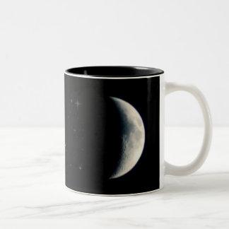 Earth Moon and Stars Two-Tone Coffee Mug