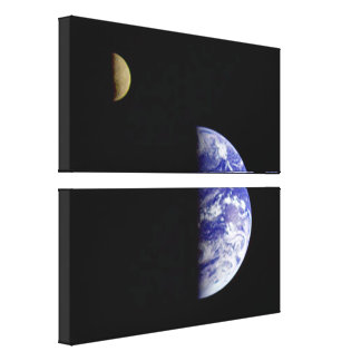 Earth & Moon As Seen From Space Canvas Print