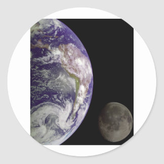 Earth & Moon from Galileo Classic Round Sticker