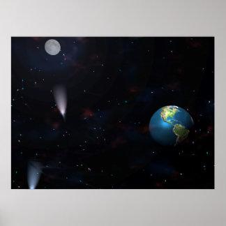 Earth Moon Galaxy Posters