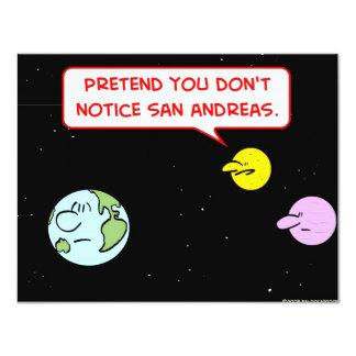 "earth moon notice san andreas fault pretend 4.25"" x 5.5"" invitation card"