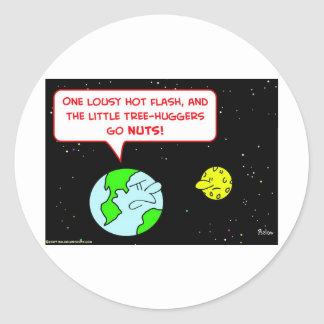 earth moon tree-huggers hot flash classic round sticker