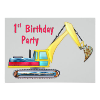 Earth Mover 1st Birthday 5x7 Paper Invitation Card