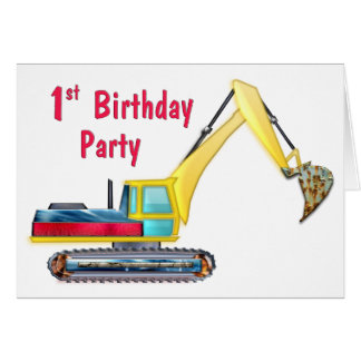 Earth Mover 1st Birthday Greeting Card