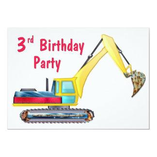 Earth Mover 3rd Birthday 5x7 Paper Invitation Card