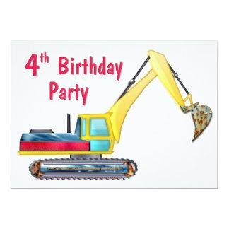 Earth Mover 4th Birthday 5x7 Paper Invitation Card