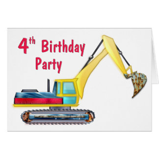 Earth Mover 4th Birthday Greeting Card