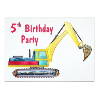 Earth Mover 5th Birthday 5x7 Paper Invitation Card