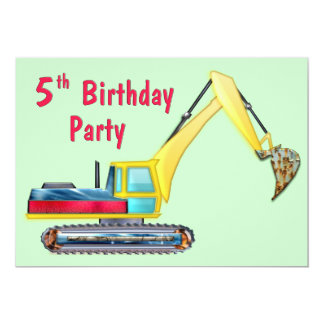 Earth Mover 5th Birthday Card