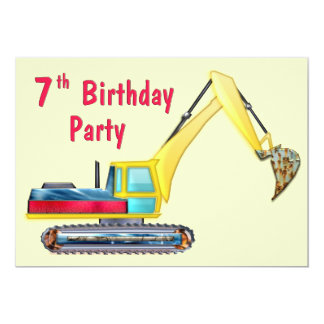 Earth Mover 7th Birthday 5x7 Paper Invitation Card