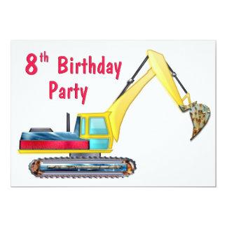 Earth Mover 8th Birthday 5x7 Paper Invitation Card