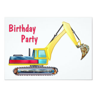 Earth Mover Birthday Party 5x7 Paper Invitation Card