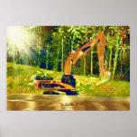 Earth-mover Excavator Digger w Front Shovel Art Poster