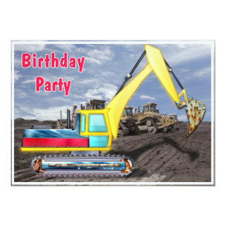 Earth Mover Moving Earth Birthday Party 5x7 Paper Invitation Card