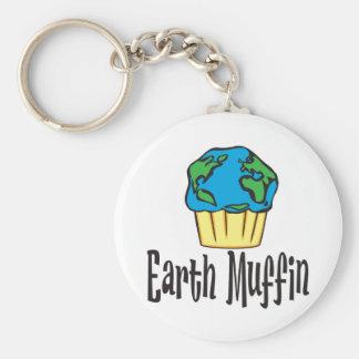 Earth Muffin Basic Round Button Keychain