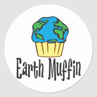 Earth Muffin Round Stickers