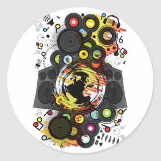 Earth_Music Classic Round Sticker