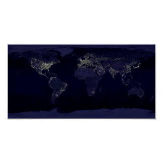Earth Night Lights Space Poster