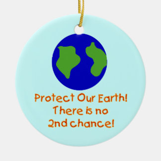 Earth No 2nd Chances T-shirts and Gifts Double-Sided Ceramic Round Christmas Ornament
