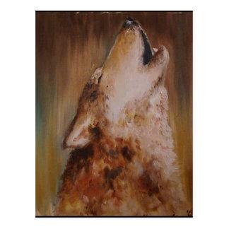Earth oil color wolf postcard