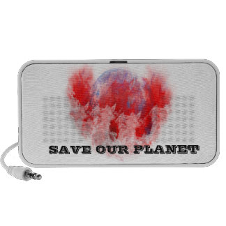 Earth On Fire Save Our Planet Doodle Speaker