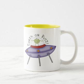 Earth Or Bust Alien Two-Tone Coffee Mug
